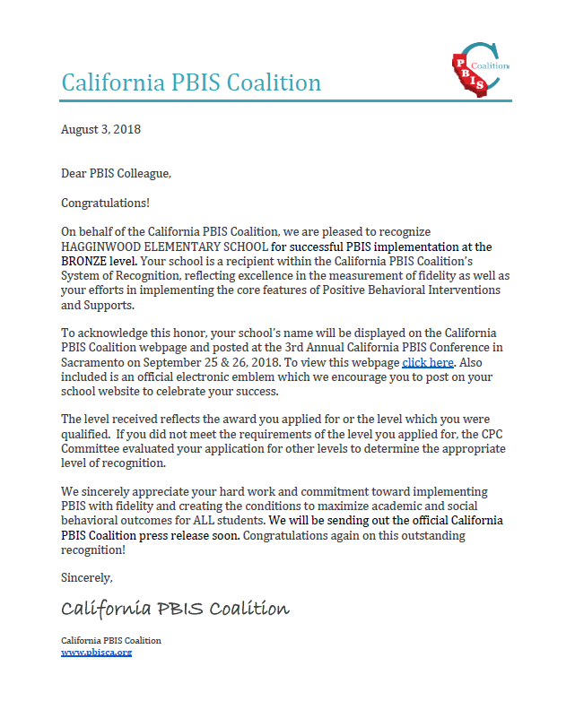 California PBIS Coalition letter